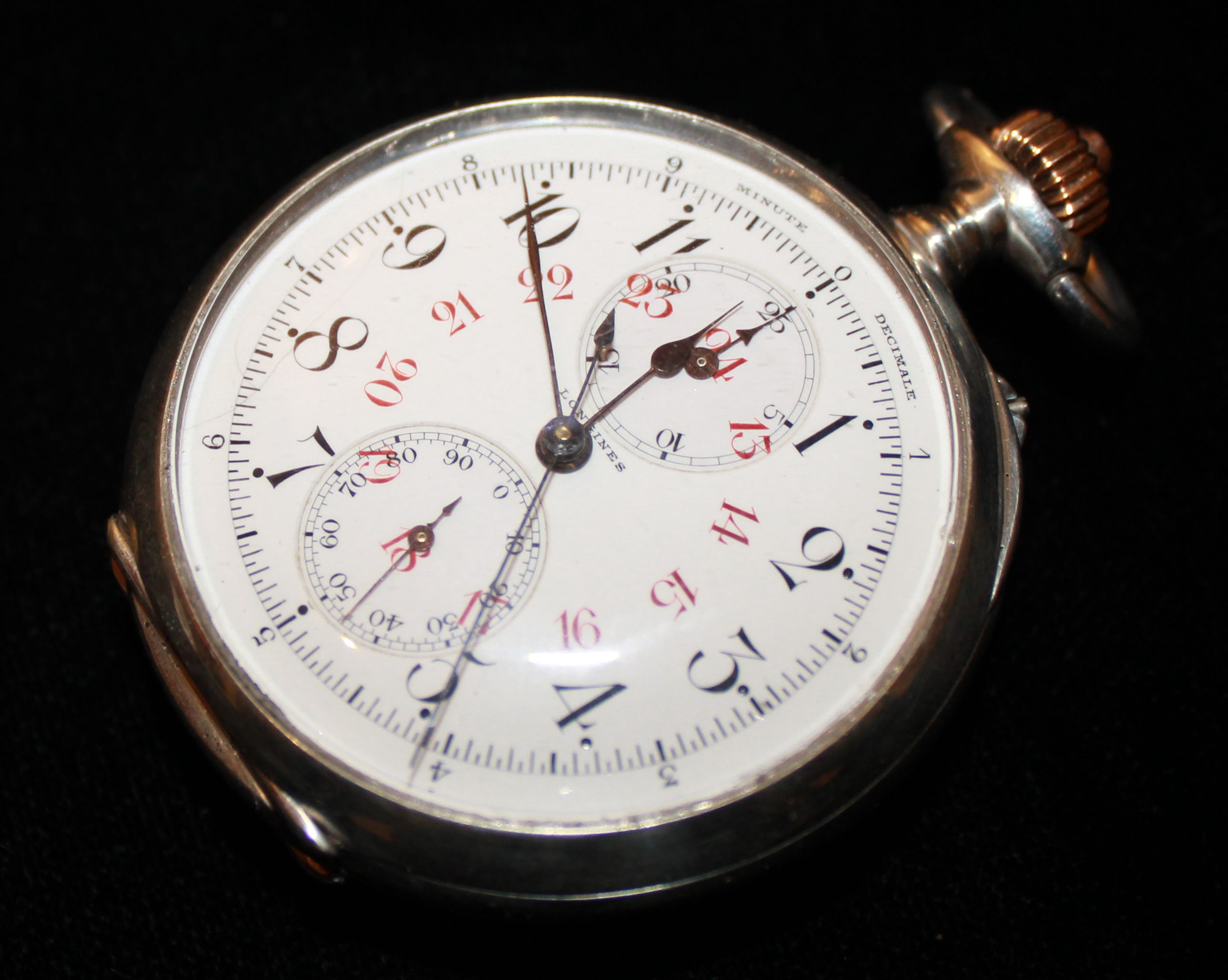 Lot 2 - LONGINES, A RARE EARLY 20TH CENTURY WHITE METAL DUAL DIAL DECIMAL CHRONOGRAPH GENT'S POCKET WATCH