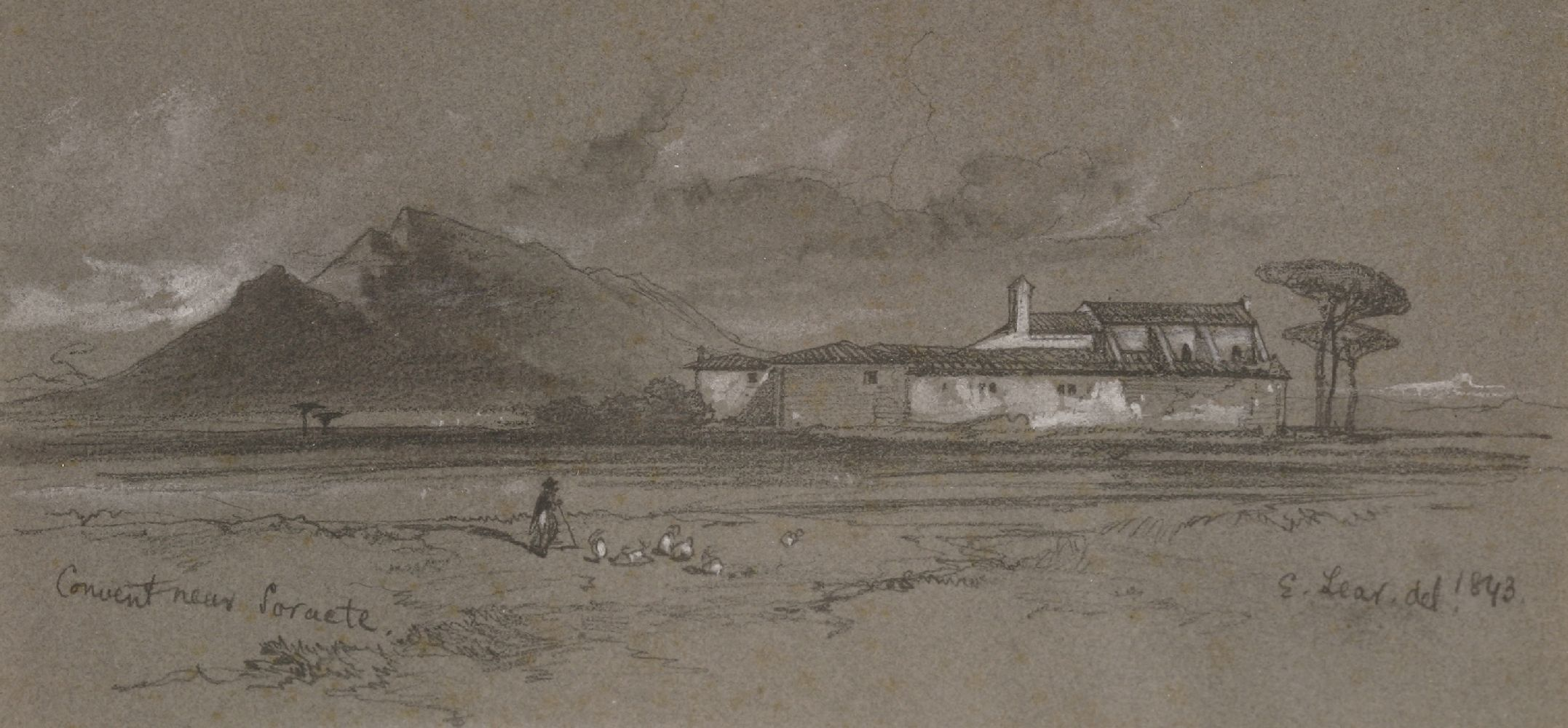 Lot 717 - Edward Lear (1812-1888)CONVENT NEAR SORACTE, ITALYSigned, inscribed with title and dated 1843 l.
