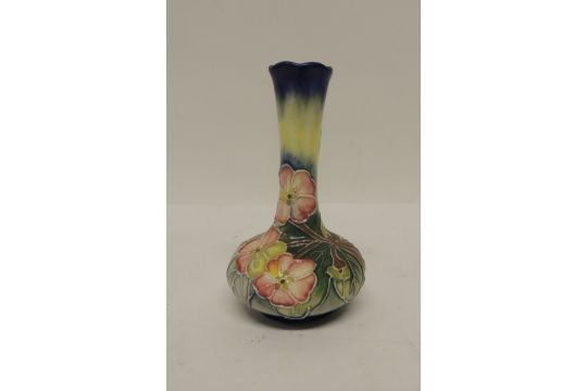 A Small Old Tupton Ware Bottle Vase With Tubelined Floral Decoration