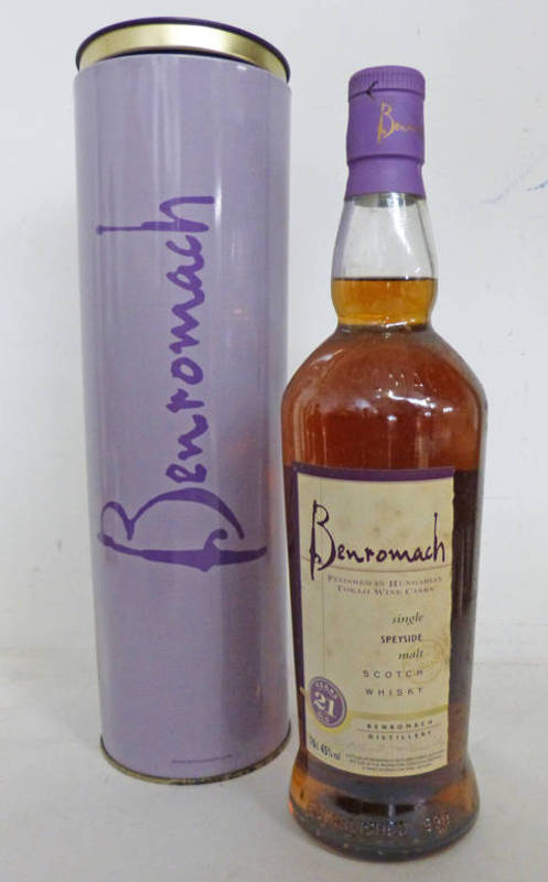 Lot 4100 - 1 BOTTLE BENROMACH 21 YEAR OLD SINGLE MALT WHISKY, TOKAJI WINE CASK FINISH - 70CL,