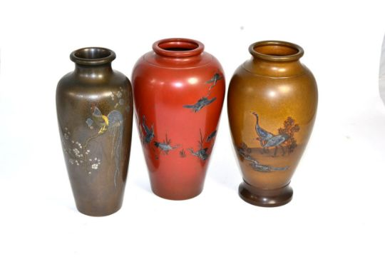 Three Japanese Vases Circa 1910 Vases Decorated With Cranes