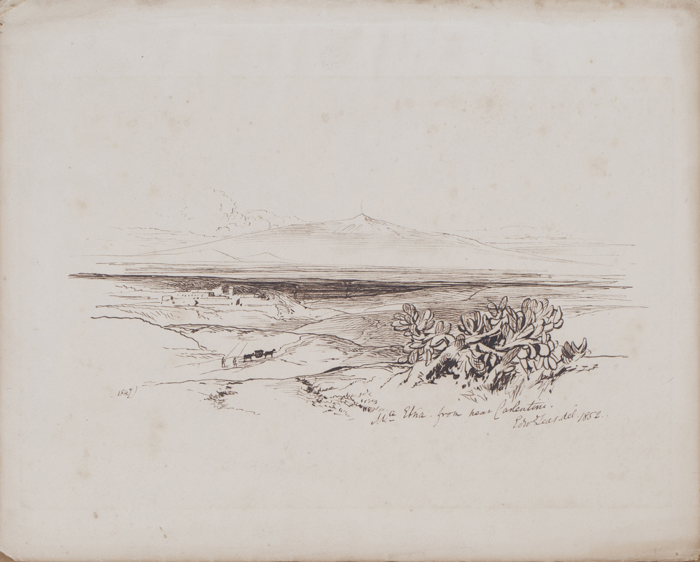 Lot 113 - Edward Lear - 'Mt. Etna from near Carlentini', pen and ink, signed, titled and dated 1852, 23cm x