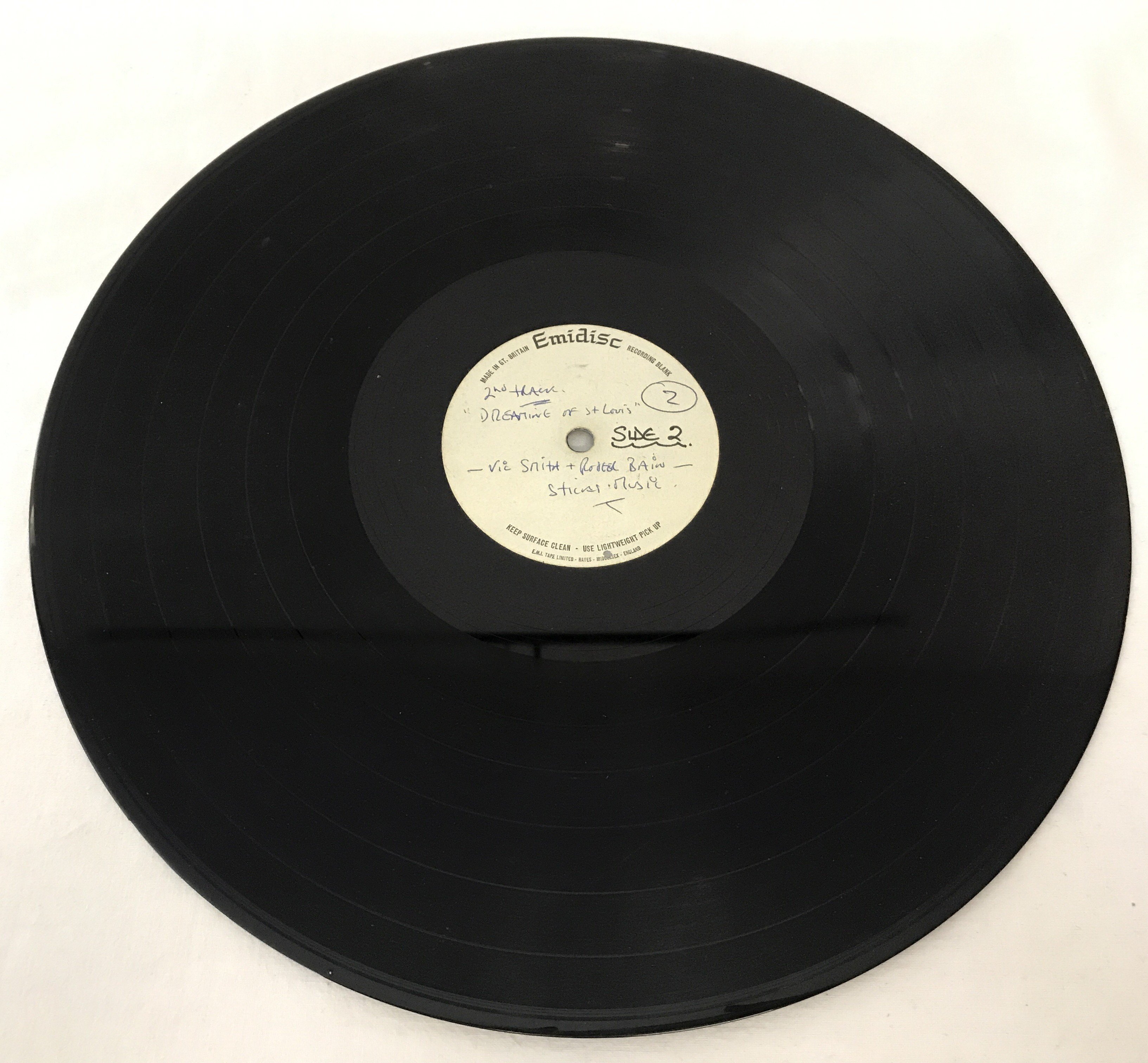 "Lot 34 - 12"" rare, early Billy Fury demo record. Recorded onto an Emidisc Acetate."