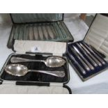 A case of 12 knives, a case of 6 knives and 2 serving spoons.