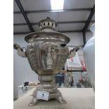 A silver plated samovar urn.