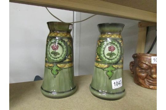 A Pair Of German Royal Bonn Vases With Assorted Markings To Bases