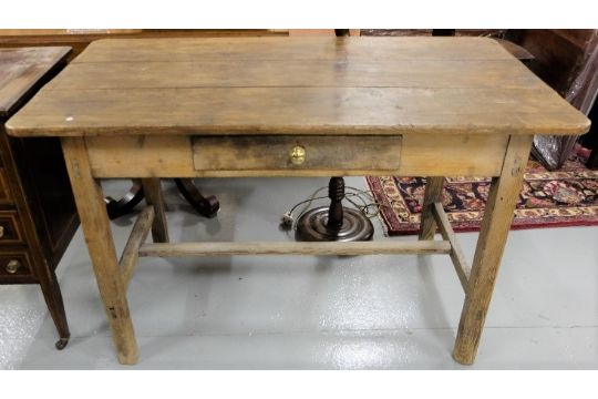 Irish Farmhouse Antique Pine Small Kitchen Table With An A
