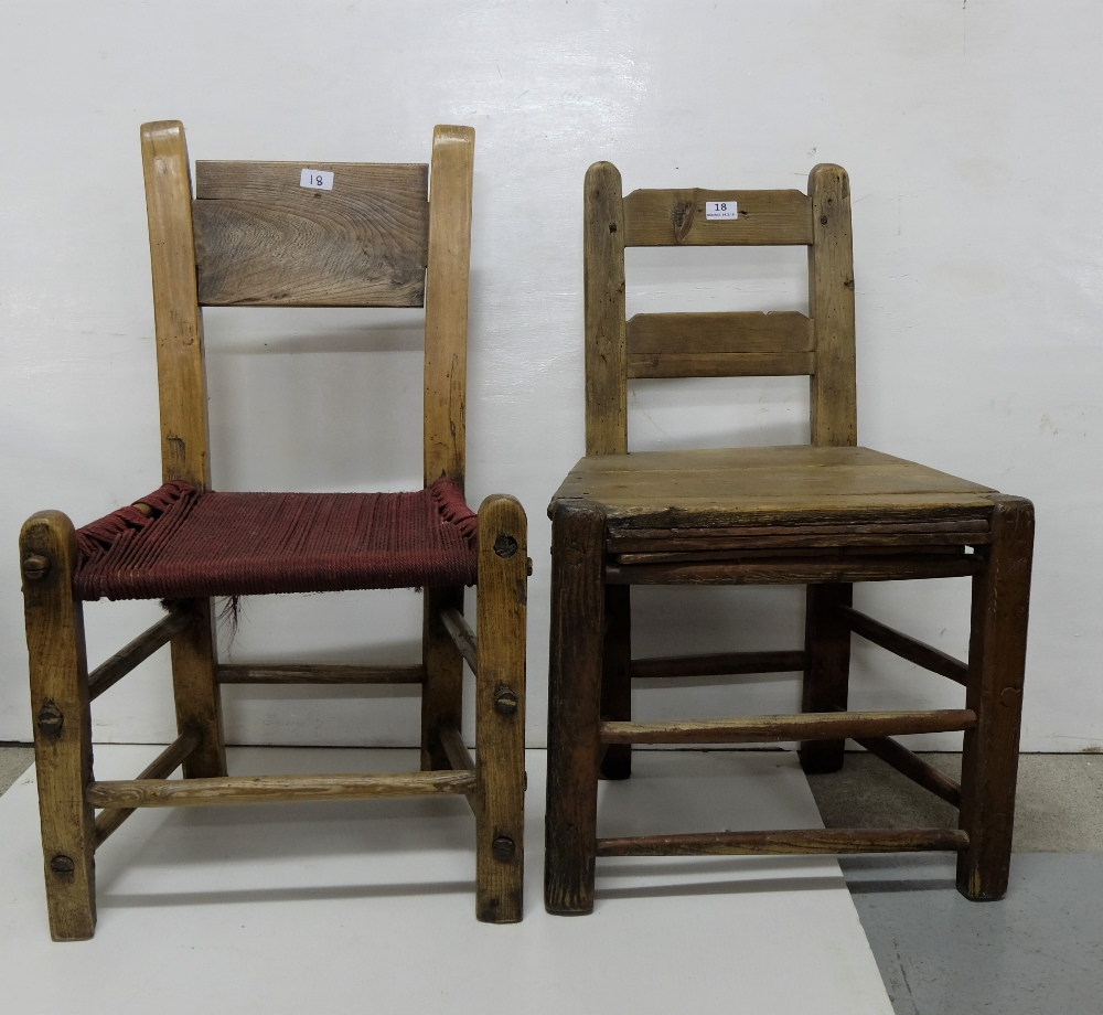 Kitchen Chairs Ireland: Two Irish Farmhouse Kitchen Chairs, 1 With A Red Sugan