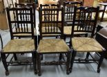 Lot 11 - Set of 6 similar oak kitchen chairs, 19th Century with turned spindle backs and double stretchers,