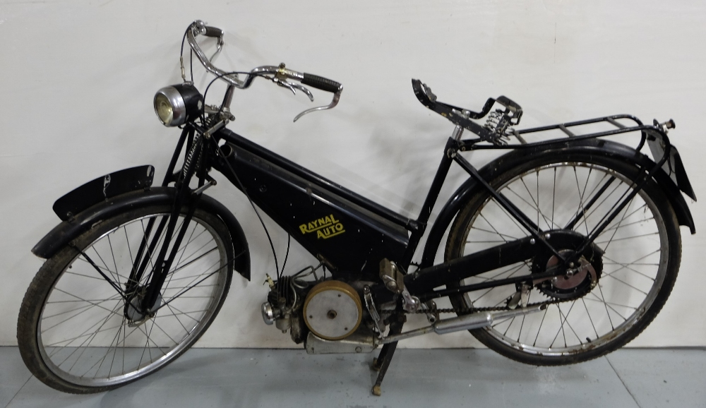"Lot 10 - ""Raynal Auto"" motorcycle, with Lucas headlight (no leather on seat)"
