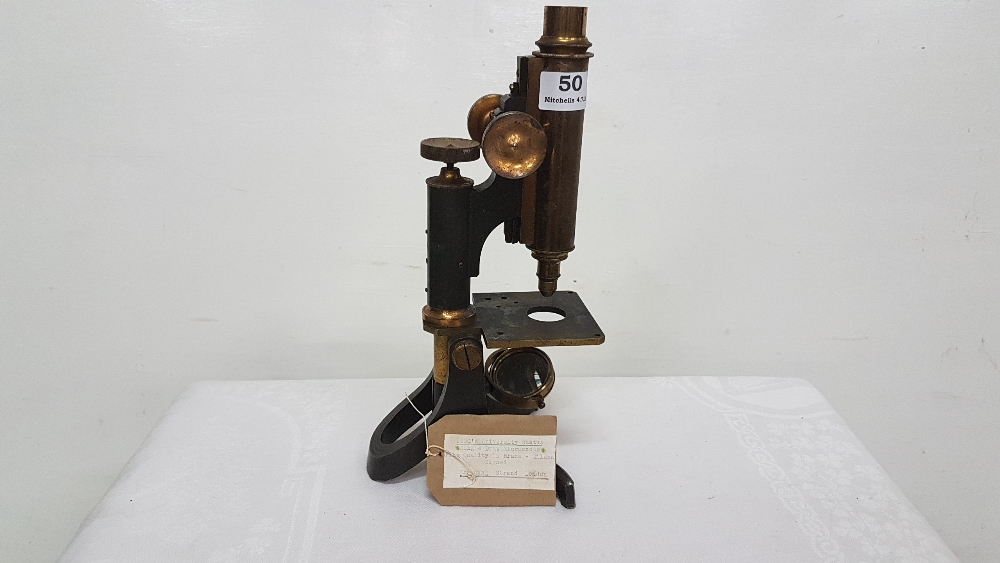 Lot 50 - Heavy 19th C Microscope, Signed Brownings, Strand, London