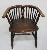 Lot 17 - Low-sized Elm Bow-Shaped Chair, turned front legs
