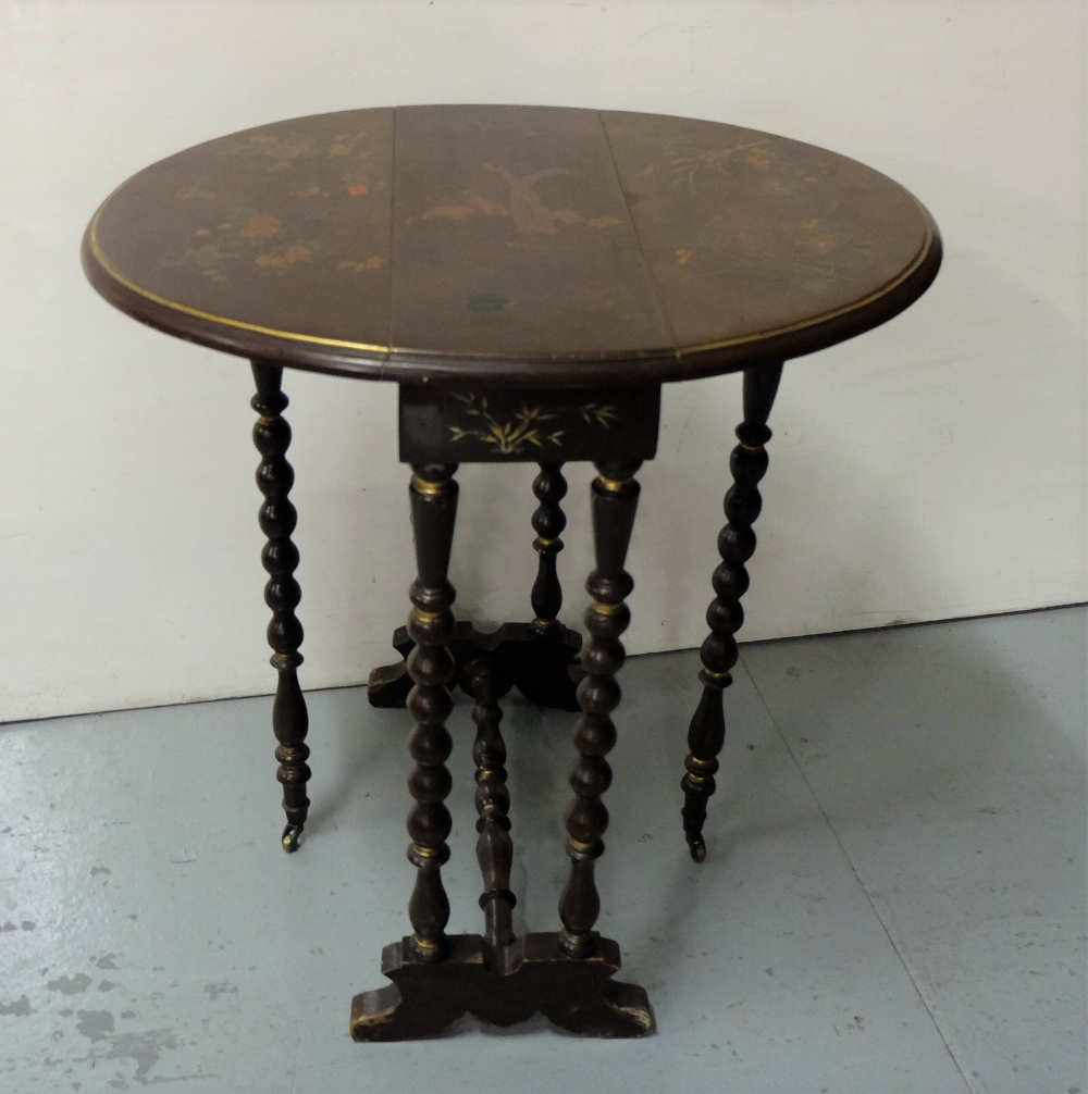 "Lot 12 - Chinoiserie Sutherland Table with bobbin shaped legs, with raised floral patterns, 22"" d, extends to"