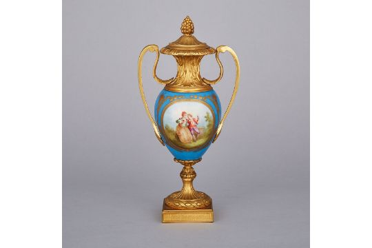 Ormolu Mounted Svres Blue Ground Covered Vase Late 19th