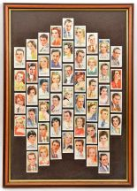 "Lot 9 - Players cigarette cards ""Film Stars"", set of 50, head and shoulders with autographs, framed, 23½"""