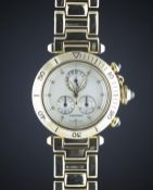 A GENTLEMAN'S 18K SOLID GOLD CARTIER PASHA CALENDAR CHRONOGRAPH BRACELET WATCH CIRCA 2000, REF. 1353