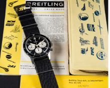 A VERY RARE GENTLEMAN'S STAINLESS STEEL BREITLING 765 CO PILOT CHRONOGRAPH WRIST WATCH CIRCA 1965,