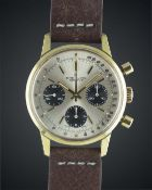 "A GENTLEMAN'S GOLD PLATED BREITLING ""LONG PLAYING"" CHRONOGRAPH WRIST WATCH CIRCA 1973, REF. 815 WITH"