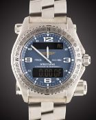 A GENTLEMAN'S UNWORN TITANIUM BREITLING EMERGENCY MULTIFUNCTION BRACELET WATCH DATED 2006, REF.