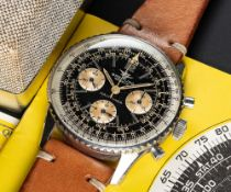 A GENTLEMAN'S STAINLESS STEEL BREITLING NAVITIMER CHRONOGRAPH WRIST WATCH DATED 1966, REF. 806