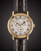 "A GENTLEMAN'S 18K SOLID ROSE GOLD AUDEMARS PIGUET ""JULES AUDEMARS COLLECTION"" POWER RESERVE CALENDAR"