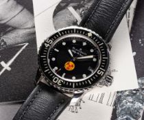 A RARE GENTLEMAN'S STAINLESS STEEL BLANCPAIN FIFTY FATHOMS NO RADIATIONS WRIST WATCH DATED 2012,