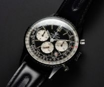 A VERY RARE GENTLEMAN'S BLACK COATED BREITLING NAVITIMER CHRONOGRAPH WRIST WATCH CIRCA 1970s, REF.