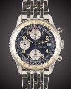 "A GENTLEMAN'S STAINLESS STEEL BREITLING ""OLD NAVITIMER"" AUTOMATIC CHRONOGRAPH BRACELET WATCH DATED"