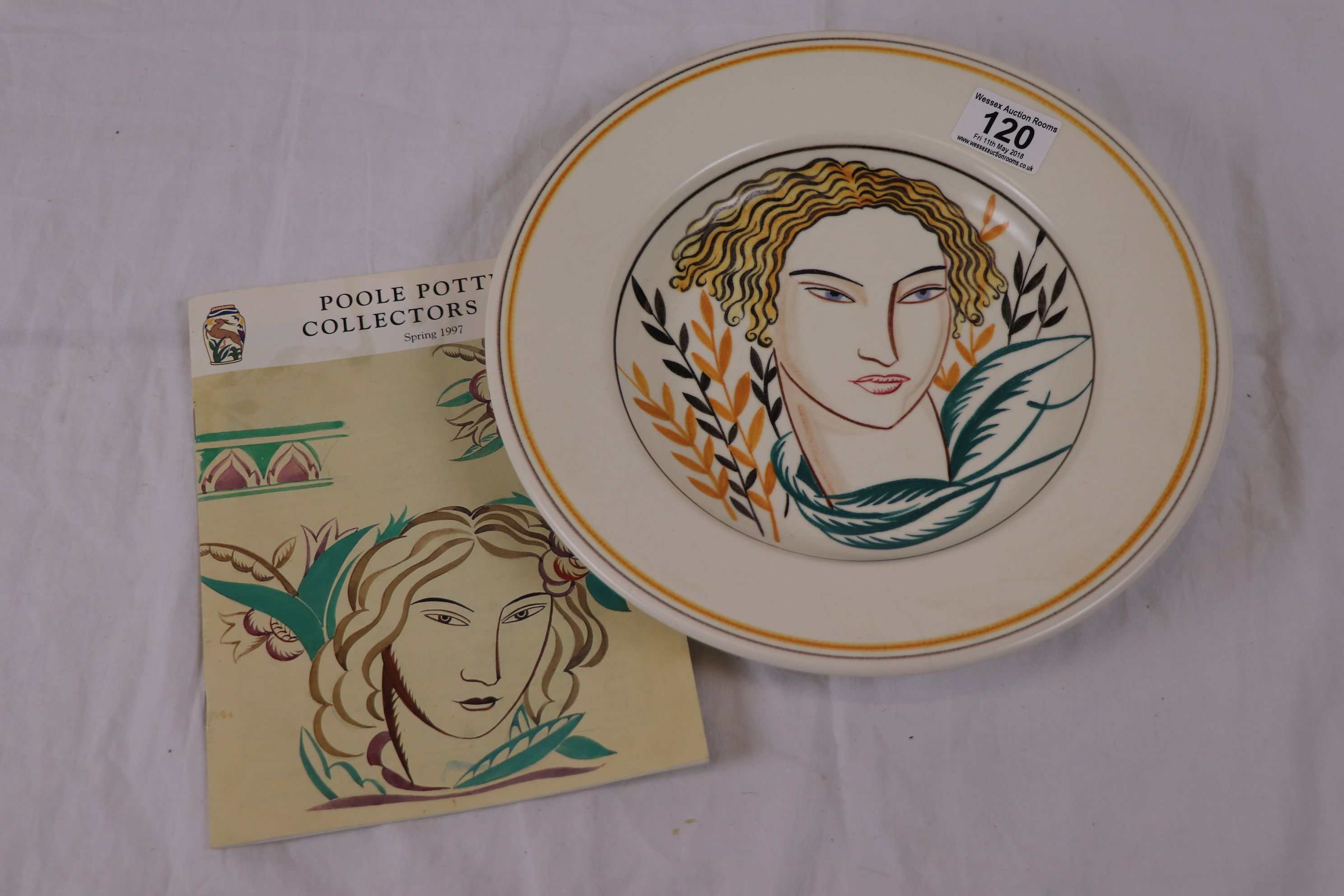 Olive Bourne For Poole Pottery Dish Depicting Angular Female Face