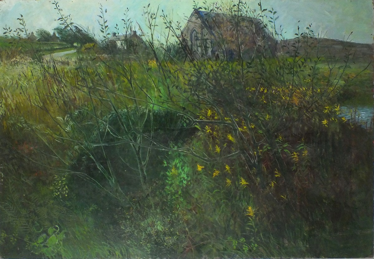 Lot 19 - Pat ALGAR (British 1939 - 2013) 'Back Garden Landscape', Oil on board, Signed, titled & inscribed