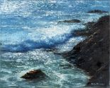 Lot 484 - Richard BLOWEY (British b. 1948) Sun of Sea- a Cornish cove, Oil on canvas, Signed lower right, 15.