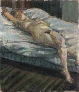 Lot 10 - Pat ALGAR (British 1939 - 2013) Female Nude reclining on a Bed, Oil on board, Signed lower left,