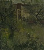 Lot 20 - Pat ALGAR (British 1939 - 2013) 'Overgrown Garden', Oil on board, Signed & titled verso ,  21.75""
