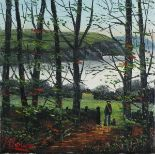 Lot 58 - James DOWNIE (British b. 1949) 'The Creek' - Figure with Dog looking out to the Water, Oil on