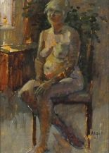 Lot 9 - Pat ALGAR (British 1939 - 2013) 'Seated Nude' - Portrait of a Woman, Oil on board, Signed,