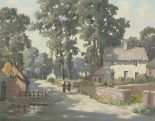 Lot 49 - John EDWARDS (British b. 1914) Near Perranwell - quiet street scene, Oil on canvas, Signed lower