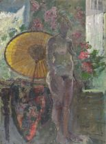 Lot 18 - Pat ALGAR (British 1939 - 2013) Standing Female Nude with Parasol, Oil on board, Signed lower right,