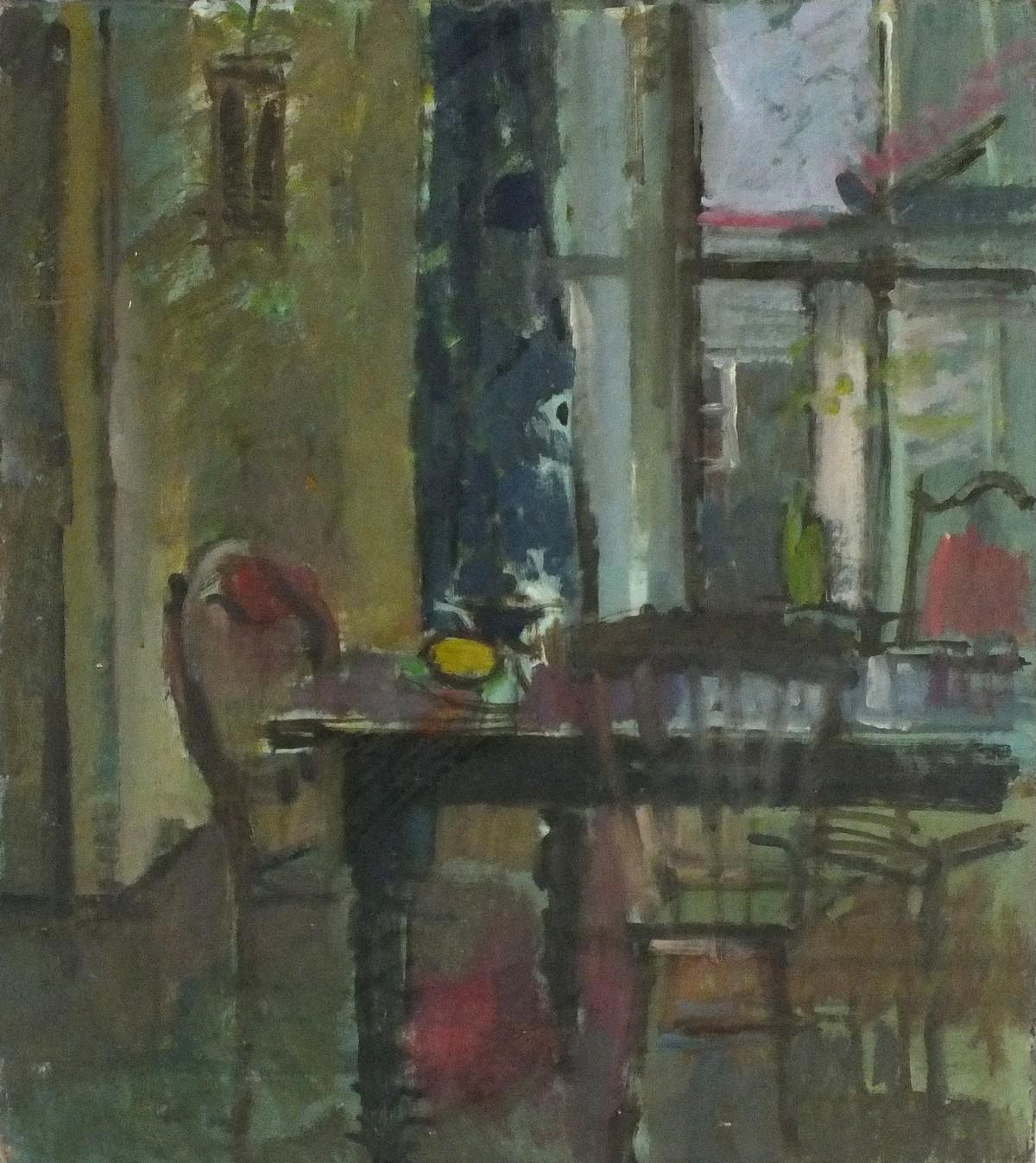 """Lot 6 - Pat ALGAR (British 1939 - 2013)Dining Room Interior - Wesley Place, Oil on board, Unframed, 16"""" x"""
