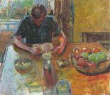 "Lot 5 - Pat ALGAR (British 1939 - 2013) Rab Reading at the Dining Table,Oil on board, Unframed, 16"" x"