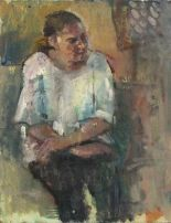 Lot 8 - Pat ALGAR (British 1939 - 2013)Portrait of a young Woman (seated), Oil on board, Signed lower