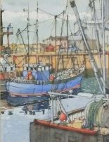 Lot 37 - J*R* (20th/21st Century British School)Boats moored in Faversham Harbour, Watercolour & ink, Signed