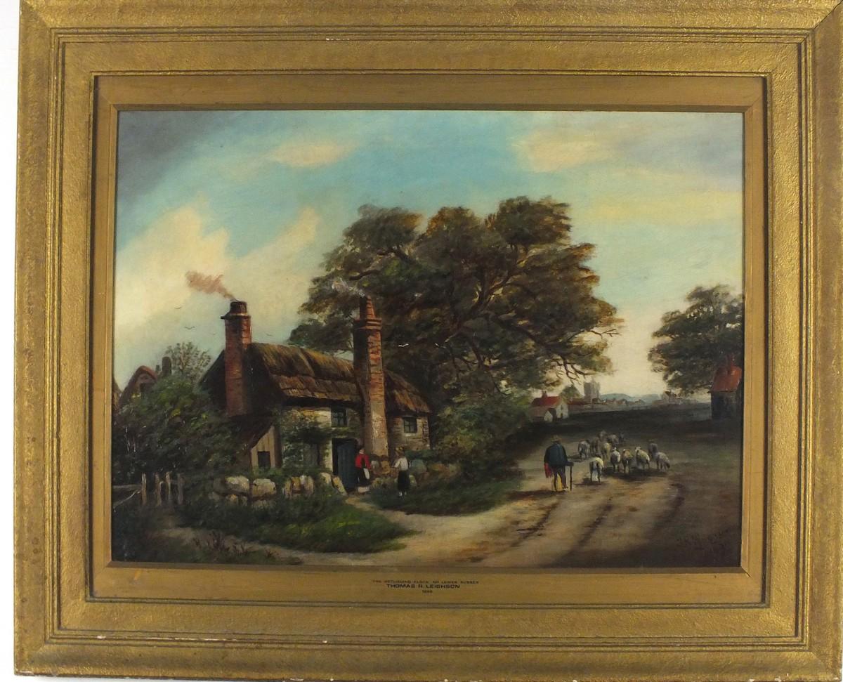 Lot 48 - Thomas R LEIGHSON (Late 19th/ Early 20th Century British School), The Returning Flock, nr. Lewes,