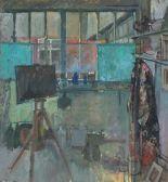 Lot 14 - Pat ALGAR (British 1939 - 2013) The Artist's Studio - Porthmeor Road (St. Ives),Oil on board,