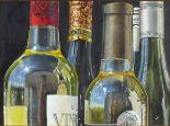 Lot 29 - Jan Merrick HORN (British b.1948) Still Life - Study ofWine Bottles, Oil on board, Signed lower