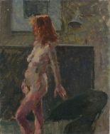 Lot 16 - Pat ALGAR (British 1939 - 2013) Life Model - Portrait of a standing Female Nude, Oil on board,