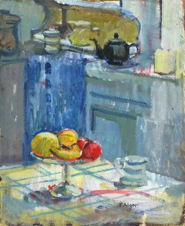 Lot 15 - Pat ALGAR (British 1939 - 2013)Still Life with Fruit and Cornishware Jug in a Kitchen Interior, Oil