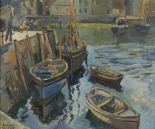 Lot 40 - Robert Sydney Rendle WOOD (British 1894-1987) West Country Harbour, Oil on canvas, Signed lower