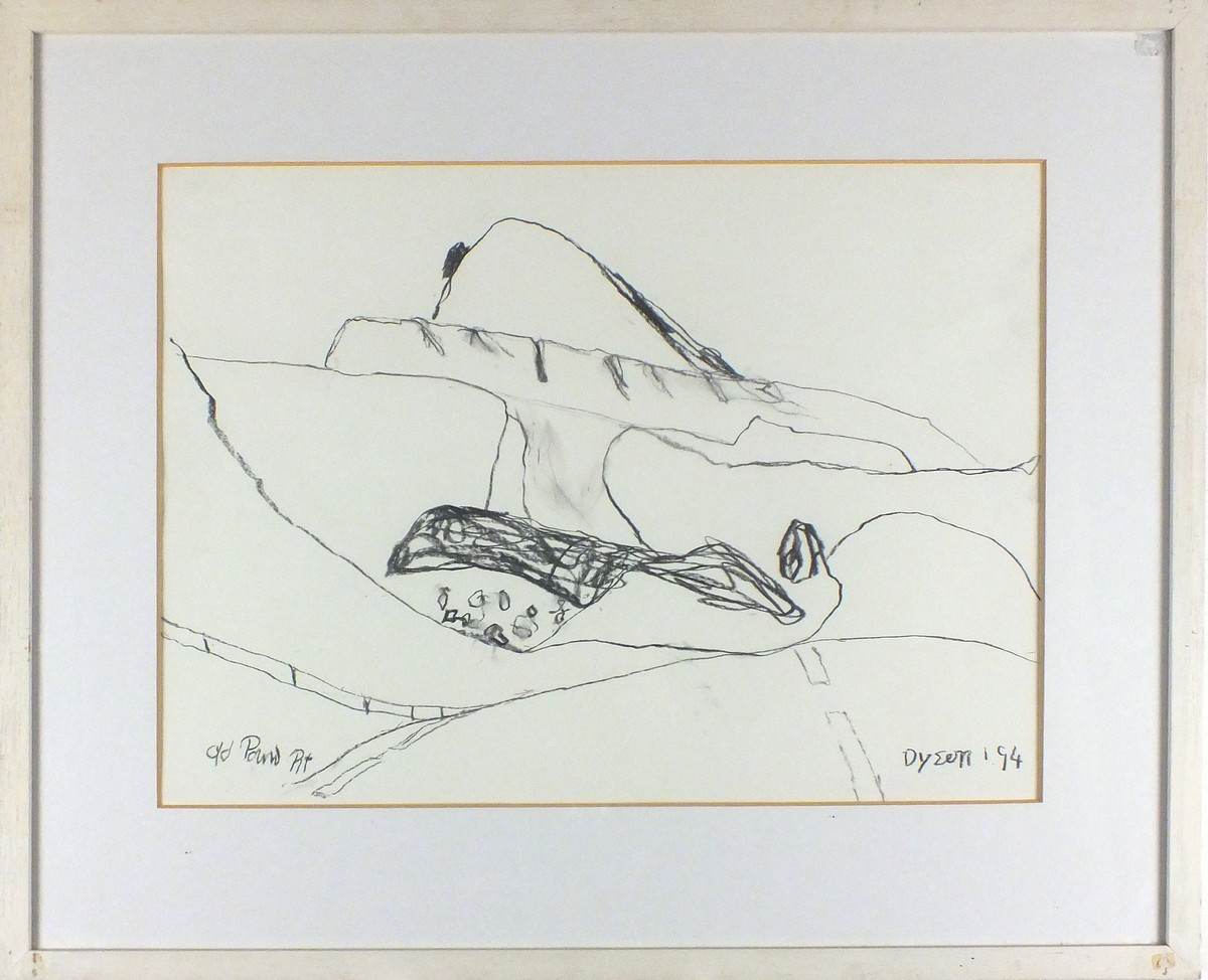 Lot 24 - Julian DYSON (British 1936-2003) 'Old Pound Pit', Charcoal drawing, Signed & dated '94 lower