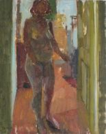 Lot 17 - Pat ALGAR (British 1939 - 2013) Standing Female Nude - Wesley Place, Oil on board, Signed lower