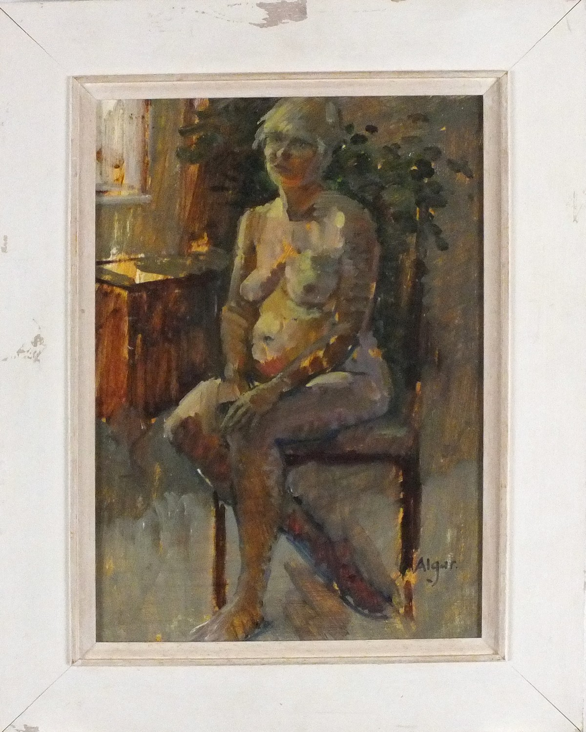 Lot 9 - Pat ALGAR (British 1939 - 2013) 'Seated Nude'- Portrait of a Woman, Oil on board, Signed,